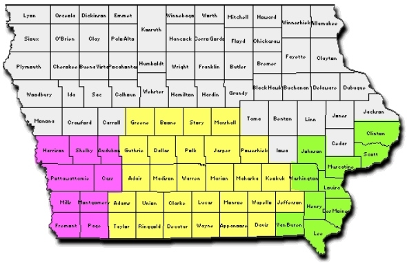 Divisional Map By Counties SOUTHERN DISTRICT OF IOWA United - Us court districts map